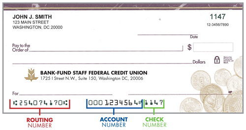 BFSFCU check image showing routing, account and check number