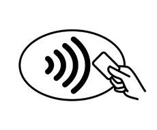 Simply tap your contactless credit card or mobile device on eligible point of sale terminals when it is time to pay: look for the Contactless Symbol  and your transaction will be finished within seconds.